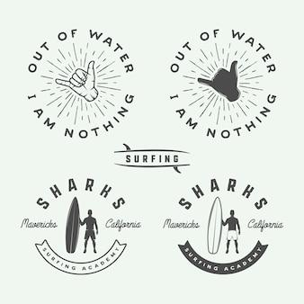 Set di loghi vintage surf, emblemi, stemmi, etichette ed elementi di design.