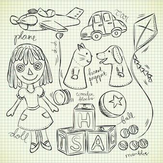 Set di giocattoli vintage doodle