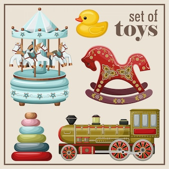 Set di giocattoli vintage.