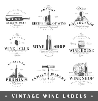 Set di etichette di vini vintage