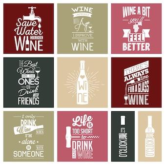 Set di citazioni tipografiche vino vintage.