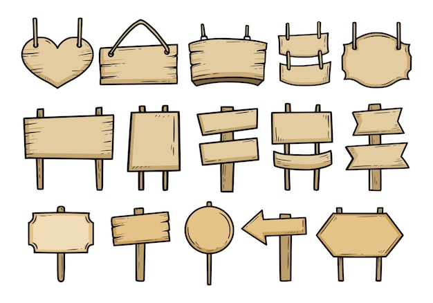 Insieme di segni di legno d'epoca