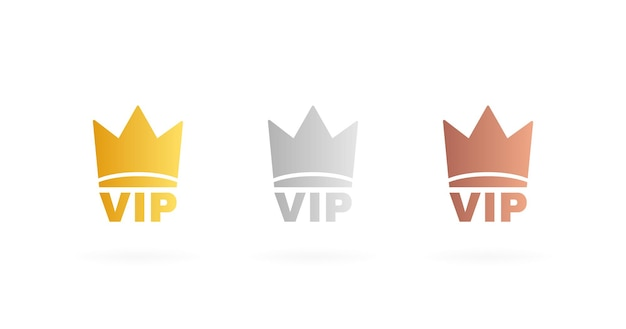Set badge vip in colore oro, argento e bronzo. etichetta della corona con tre livelli vip. moderna illustrazione vettoriale.