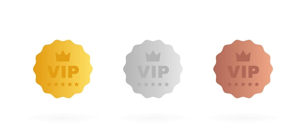 Set badge vip in colore oro, argento e bronzo. etichetta rotonda con tre livelli vip.