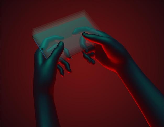 Set di mani virtuali in possesso di un telefono cellulare