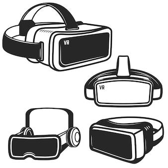 Insieme delle icone di vetro di realtà virtuale su fondo bianco. elemento per logo, etichetta, emblema, segno. illustrazione