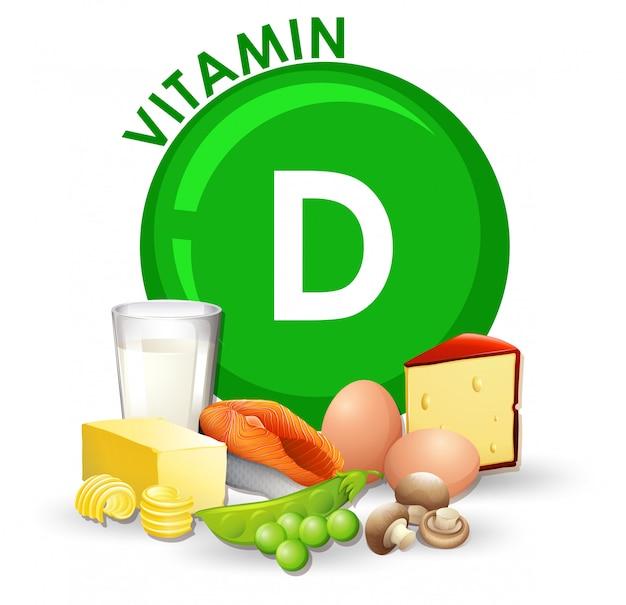 Un insieme di alimenti a base di vitamina d