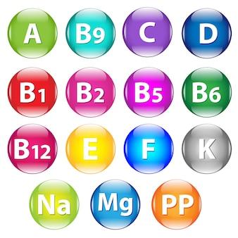 Set vitamine, isolato su sfondo bianco, illustrazione