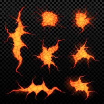 Set di crepe vulcaniche con lava su uno sfondo trasparente, fessure incandescenti.