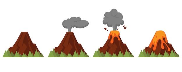 Insieme di vulcani di vari gradi di eruzione. illustrazione di stile piano con oggetti isolati.