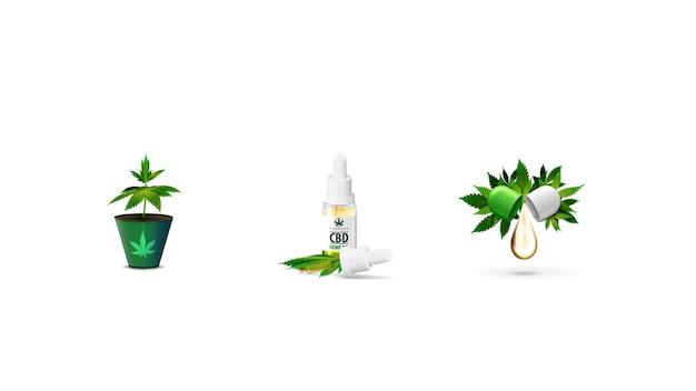Set di icone di cannabis volumetriche isolate su priorità bassa bianca. germoglio di cannabis in un vaso, olio di cbd e pilule di cbd