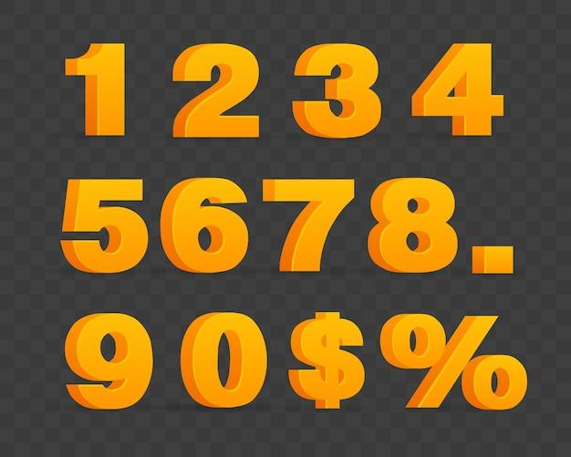 Set di numeri lucidi volumetrici e segno di percentuale.