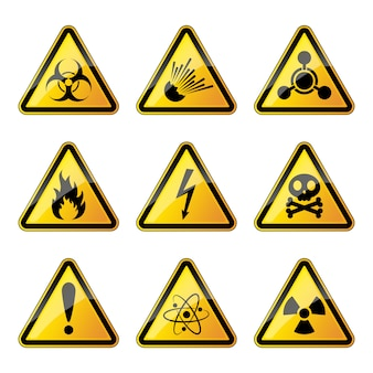 Insieme di segnali di pericolo.