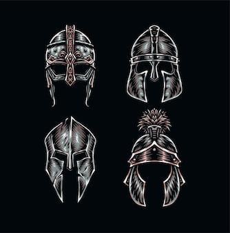 Set di caschi da guerriero, stile linea disegnata a mano con colore digitale, illustrazione