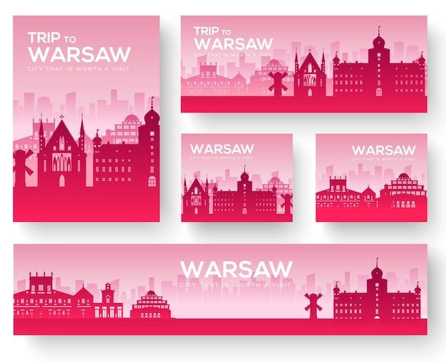 Set di tour di viaggio ornamento paese paesaggio di varsavia