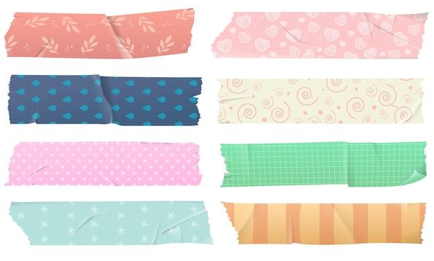 Set di nastri adesivi washi per decorazioni, isolato su sfondo bianco