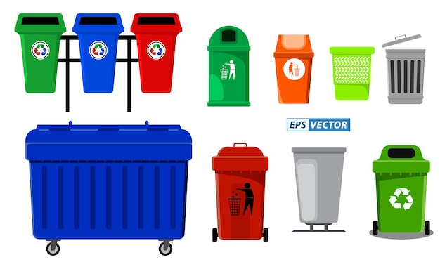 Set di concetto di raccolta differenziata o bidone della spazzatura colorato o cestino dei rifiuti o ecologia del riciclaggio