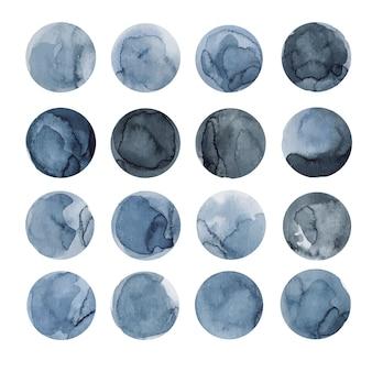 Set di cerchi blu astratti dell'acquerello