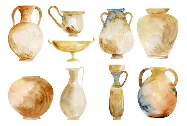 Insieme dell'illustrazione isolata ceramica antica dell'acquerello watercolor