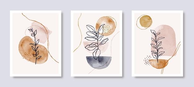 Set di sfondo di arte dell'acquerello in uno stile minimalista alla moda. illustrazione disegnata a mano di vettore da forme e foglie