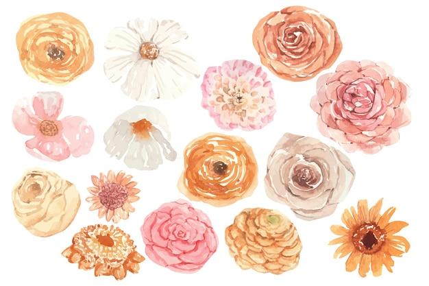 Set di boccioli di fiori autunnali ad acquerello in colori arancioni clipart floreali disegnati a mano