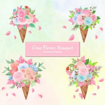 Set di acquerello cono bouquet di fiori
