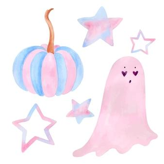 Set di oggetti di halloween carino acquerello isolati su sfondo bianco