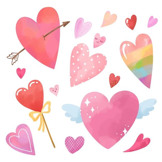 Set di cuori rosa carini dell'acquerello