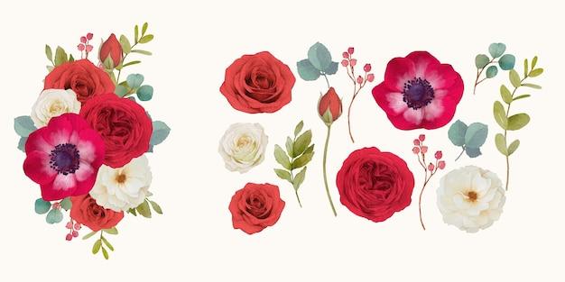 Impostare elementi ad acquerello di rose rosse e fiori di anemone