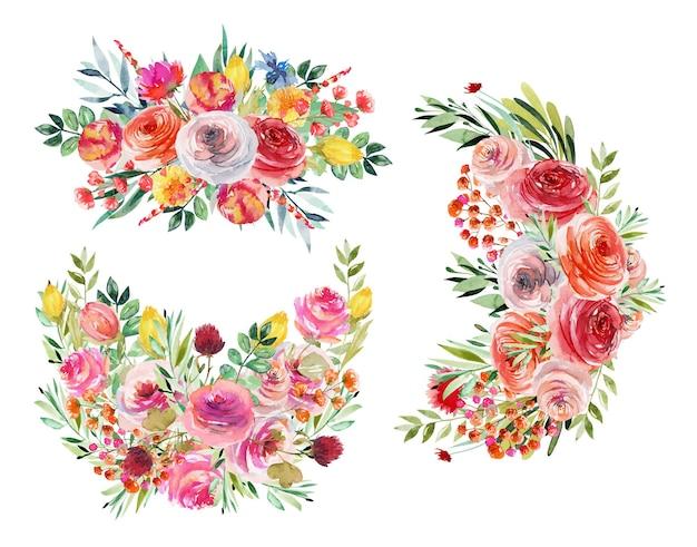 Set di mazzi di fiori floreali dell'acquerello