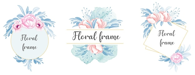 Set di composizioni floreali ad acquerello di rosa pesca e fiori con morbide foglie blu