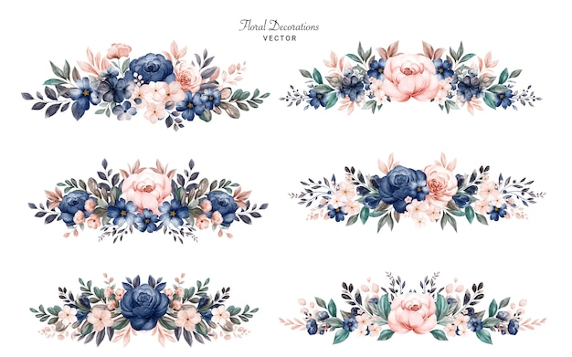 Set di mazzi di fiori cornice floreale dell'acquerello di rose blu marino e pesca