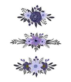 Set di mazzi di fiori cornice floreale dell'acquerello
