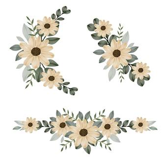 Impostare la cornice floreale dell'acquerello di girasole