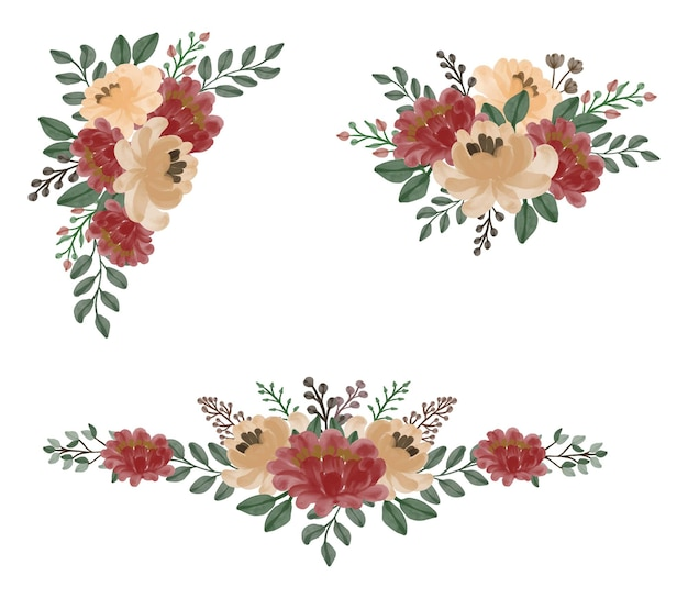 Set di cornice floreale dell'acquerello