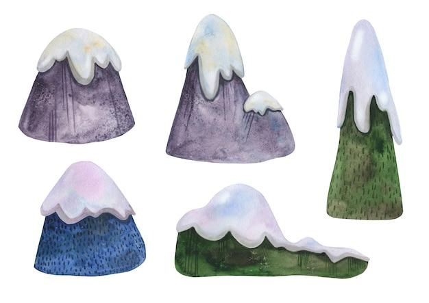 Set di montagne invernali disegnate a mano dell'acquerello con cappucci di neve per lo sci.