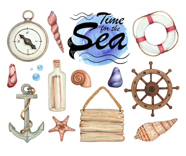 Insieme delle illustrazioni dell'acquerello del soggetto del mare isolato