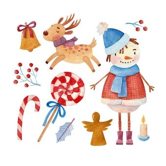 Set di illustrazioni ad acquerello con cervi pupazzo di neve e caramelle di capodanno