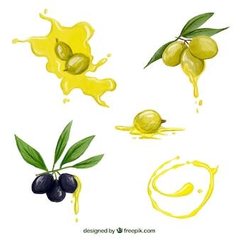 Set di olive ad acquerello e macchie di olio