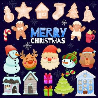 Set di decorazioni natalizie dipinte ad acquerello clipart festivo disegnato a mano