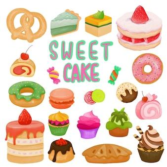 Set di acquerello dipinto dolce dessert, torta clipart. disegnato a mano isolato su sfondo bianco.