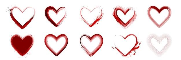 Set di acquerello rosso a forma di cuore dipinto a mano isolato