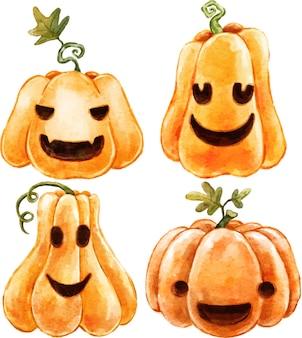 Set di sinistre zucche di halloween ad acquerello con facce spaventose dipinte ad acquerello
