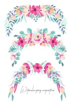 Set di mazzi floreali primaverili dell'acquerello e composizioni di fiori rosa,