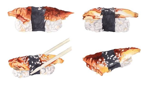 Set di sushi dell'acquerello con anguilla