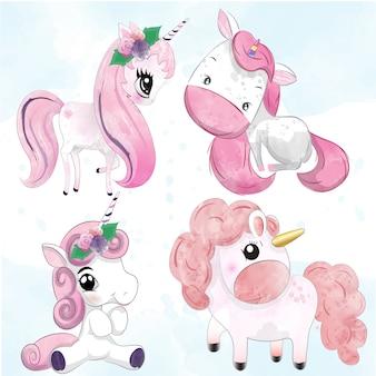 Set di unicorni dell'acquerello