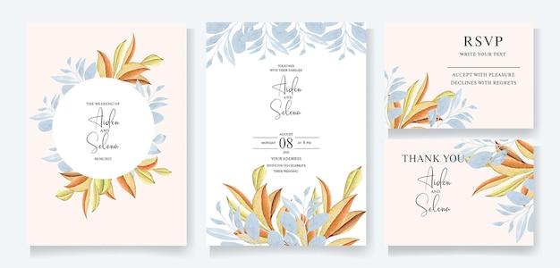 Set di modello di carta di invito matrimonio acquerello con cornice di belle foglie blu