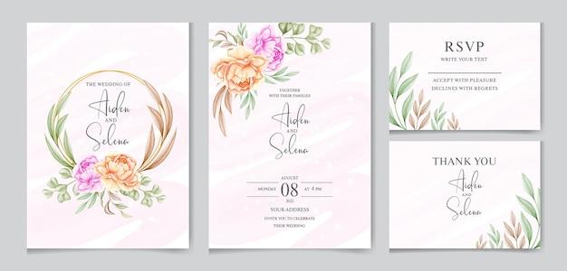 Set di modello di carta di invito matrimonio acquerello con bel fiore