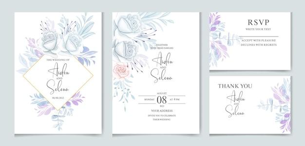 Set di modello di carta di invito matrimonio acquerello con rosa blu e foglie