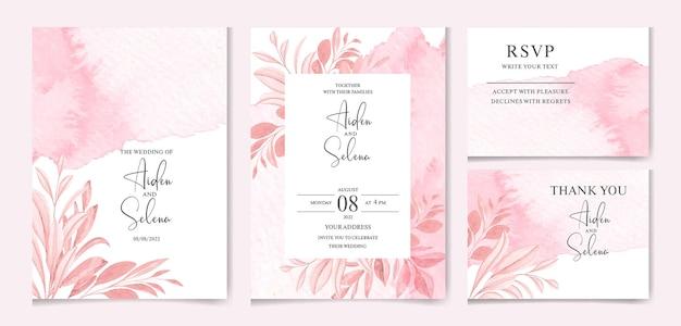 Set di modello di carta di invito matrimonio acquerello con decorazioni di foglie di colore tenue e splash